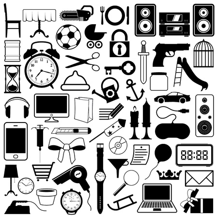 Large collection of icons of a wide variety of objects including household, technology and transport, vector illustrations in silhouette illustration