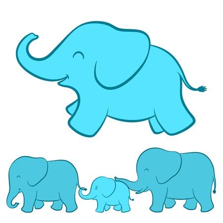elefantes: Dibujos animados de elefantes familia