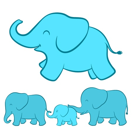 Elephant family cartoon Stock Vector - 16650253
