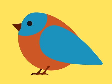 insectivorous: Pretty little blue and brown bird in a simple caricature cartoon style on a plain yellow background for kiddies - eps8
