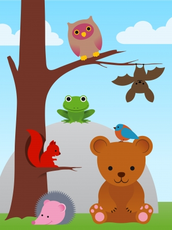 woodland: Assorted animal collection in a simple caricature cartoon style of a bear, bird, squirrel, owl, bat, hedgehog and frog in a landscape