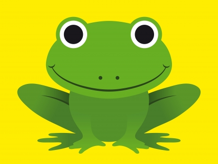 treefrog: Cute happy smiling green cartoon frog with a beaming smile on a yellow background - simple caricature style eps8