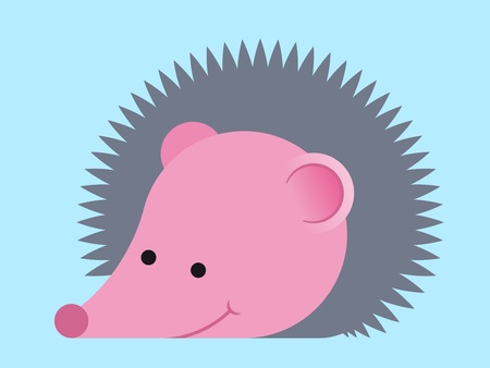 insectivorous: Adorable prickly cartoon hedgehog as a simple caricature on a blue background suitable for kids - eps8