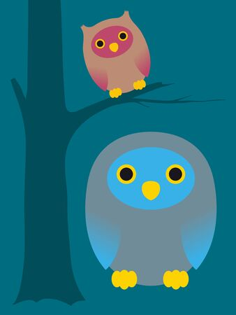 kiddies: Two cute cartoon owls in a simple caricature style with the smaller one sitting in a tree on a plain blue-green background for a kiddies illustration - eps8 Stock Photo