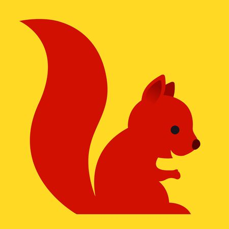 red squirrel: Happy little red cartoon squirrel with a long bushy tail sitting sideways in a simple caricature style on a cheerful plain yellow background - eps8