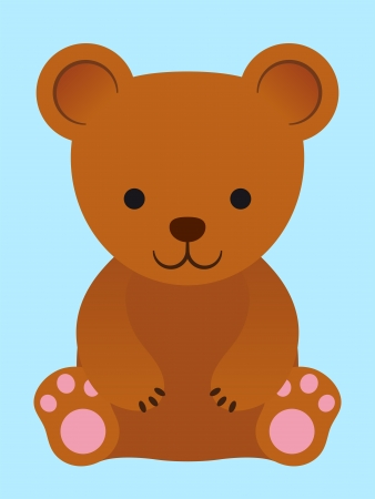 Adorable little brown teddy bear with pink pads sitting facing forwards in a simple cartoon caricature style on a plain blue background - eps8 photo