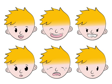 angry boy: Little boy facial emotions expression set with a cute little blonde cartoon boy showing anger, happiness, sadness, puzzlement, seriousness and laughter - eps8 Stock Photo