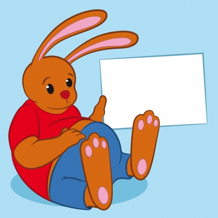 holding blank sign: Fun cartoon illustration of a fat exhausted bunny relaxing on his back holding up a blank white sign with copyspace for your text - eps8