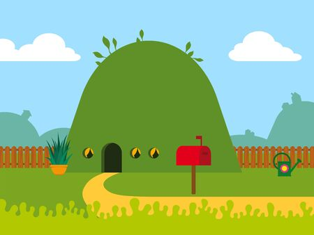 Cute little eco-friendly cartoon hill house covered in green grass in a little garden with a red postbox and wooden picket fence - eps8 vector photo