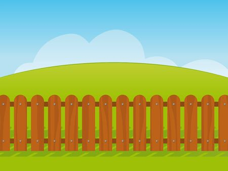 picket: Clean fresh cartoon landscape with a green grass hill under a blue sky with a wooden picket fence in the foreground - eps8
