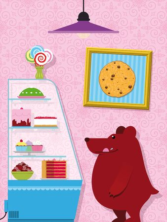 Adorable hungry little cartoon bear in a confectionery shop licking its lips as it stands eyeing the cakes and candy in the counter display - eps10 Stock Photo - 17082099
