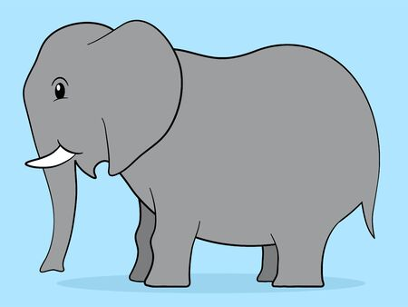 poaching: Happy fat grey cartoon elephant adult with little tusks standing in profile in a simple caricature style on a plain blue background - eps8