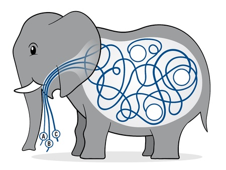 kiddies: Cute grey cartoon elephant maze kiddies game with three numbered strings leading through a confused tangle to three little blank white circles in her belly - eps10 Stock Photo