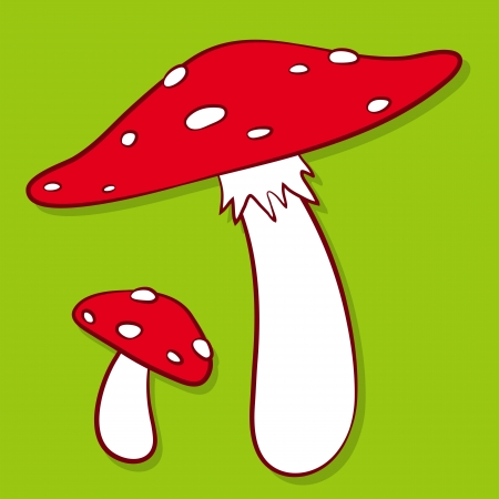 Cartoon illustration of colourful red spotted fly agaric mushrooms on a green background - eps8 Stock Illustration - 17082089