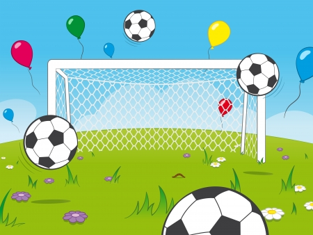 White cartoon goalposts standing in a meadow with colourful floating party balloons and soccer balls in a pretty sporting celebration background