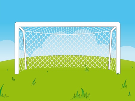 Fresh cartoon illustration of a set of empty white soccer goalposts with a net in a green field against clear blue sky with small clouds - eps8