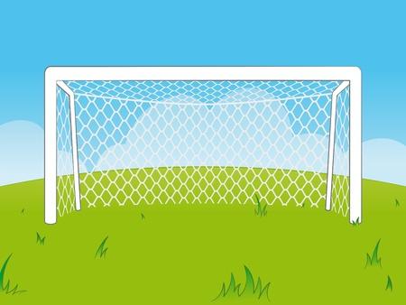 futbol soccer dibujos: Ilustración de dibujos animados fresco de una serie de vacíos porterías de fútbol blanco con una red en un campo verde contra el cielo azul claro con pequeñas nubes - eps8
