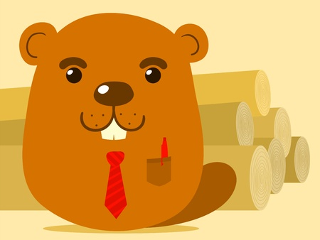 gnawer: Cute cartoon beaver salesman in simple caricature style suitable for kids standing in front of a large pile of felled tree trunks or logs that he is selling