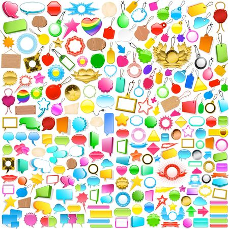 Huge colourful collection of blank labels, tags, emblems and speech bubbles in a variety of shapes and sizes with copyspace for your text on a white background photo