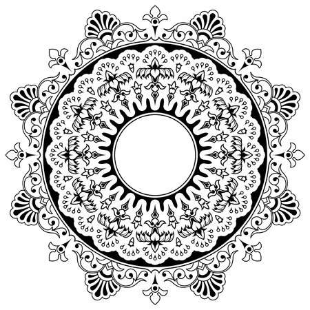 lace filigree: Round calligraphic border design element with a central circular blank area for your text surrounded by a double layer of bold floral motifs, eps8 vector Stock Photo