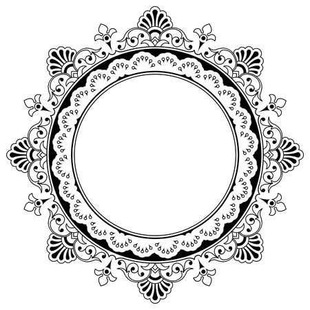Round calligraphic floral border design element with a central circular blank area for your text, eps8 vector Stock Photo - 17360074