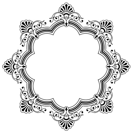 foliate: Calligraphic border design element with a central circular blank area for your text, eps8 vector Stock Photo