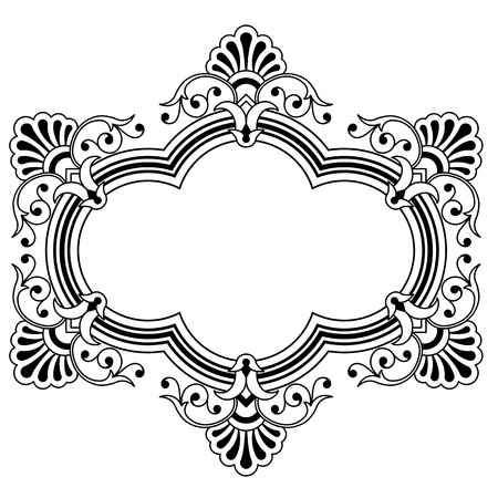 Calligraphic floral border design element with a central blank area for your text, eps8 vector