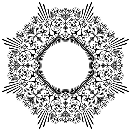 foliate: Round calligraphic floral border design element with a central circular blank area for your text, eps8 vector
