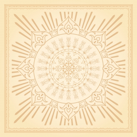 Calligraphic border design element with radiating delicate floral motifs background, eps8 vector photo