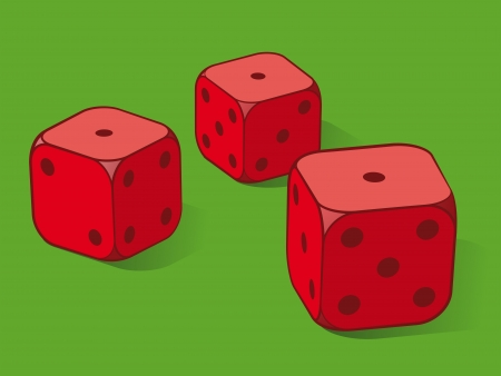 wagers: Three red dice on green conceptual of playing cards or gambling on a gaming table, three ones uppermost,  Stock Photo