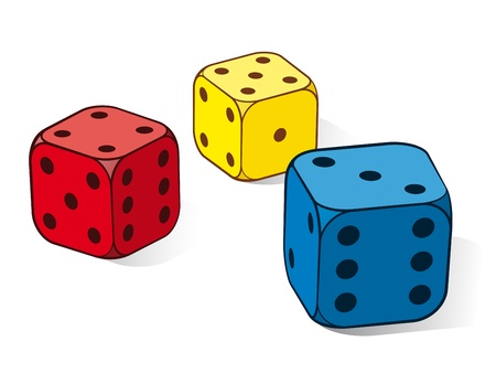 addictive: Three colourful dice in red, yellow and blue with a three, four and five uppermost isolated on white, illustration