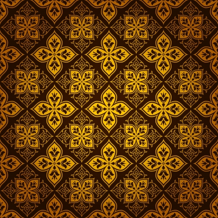 enhancing: A vintage style swirl tile pattern background in gold color and dark brown