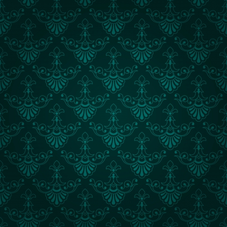 bluey: Beautiful dark bluey green seamless tile vintage wallpaper design with floral elements