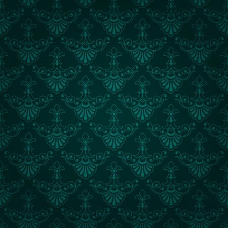 Belle Bleuatre Vert Fonce Conception Sans Couture Papier Peint Carreaux Vintage Avec Des Elements Floraux