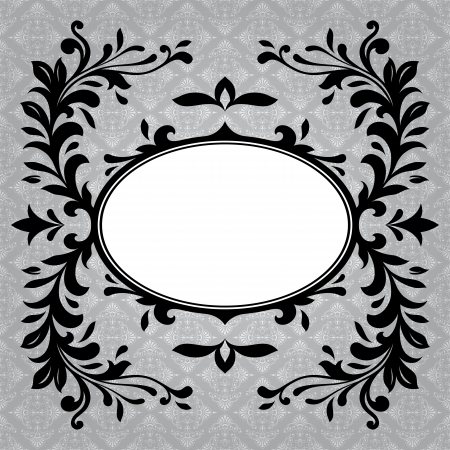 damask background: Oval black and white antique frame border on a grey textured background Stock Photo
