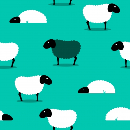 cartoon sheep: 2D of a black sheep amongst white sheep on a green solid background. Stock Photo