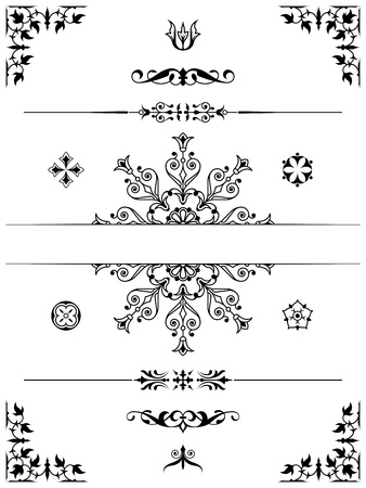 set of ornament dividers design elements corners photo
