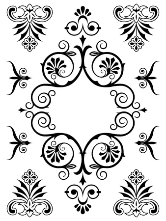Vintage Victorian calligraphic ornamental design elements with floral swirls and flourishes in a symmetrical pattern photo
