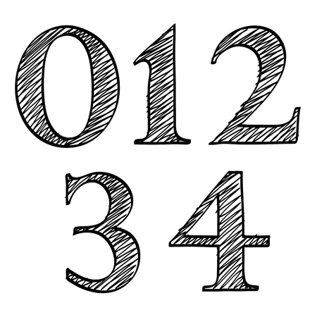Doodle scribble sketch numbers digits 0, 1, 2, 3, 4 with solid outline and pen fill squiggle centres isolated on white