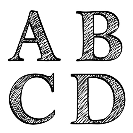 squiggle: Doodle scribble sketch alphabet letters A,B, C, D with solid outline and pen fill squiggle centres, upper case isolated on white Stock Photo