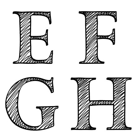 upper case: Doodle scribble sketch alphabet letters E, F, G, H with solid outline and pen fill squiggle centres, upper case isolated on white