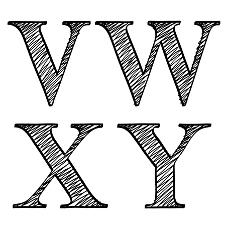 letter w: Doodle scribble sketch alphabet letters V, W, X, Y with solid outline and pen fill squiggle centres, upper case isolated on white