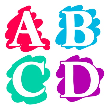 Colour doodle splash alphabet letters A, B, C, D in uppercase with white lettering each on a different single colour splash background, illustration isolated on white
