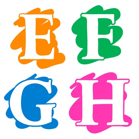 Colour doodle splash alphabet letters E, F, G, H in uppercase with white lettering each on a different single colour splash background, illustration isolated on white illustration