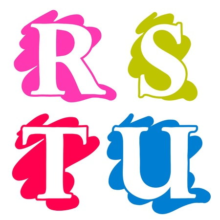 Colour doodle splash alphabet letters R, S, T, U in uppercase with white lettering each on a different single colour splash background, illustration isolated on white illustration