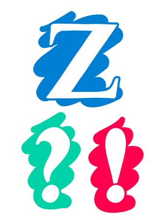interrogation point: Colour doodle splash alphabet letter Z in uppercase with white lettering each on a different single colour splash background, interrogation exclamation point