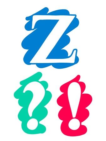 point d interrogation: Couleur doodle splash alphabet lettre Z en majuscules avec des lettres blanches sur chaque une autre couleur unique splash fond, le point d'exclamation d'interrogation Banque d'images