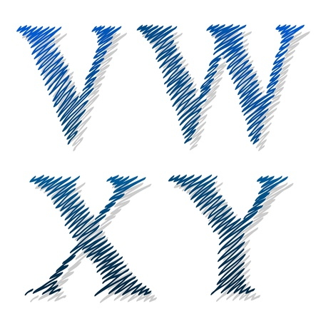 alphabetic: Doodle scribble ballpoint alphabet letters V, W, X, Y in uppercase capitals drawn with continuous squiggle lines with an offset shadow and ink effect on a white background