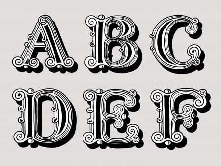 letras decorativas ilustracin retro de la vendimia de las letras del alfabeto en maysculas