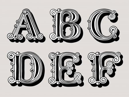 c design: Retro vintage illustration of alphabet letters in caps, the A, B, C, D, E and F in the antiqua design in black and white over a sepia background